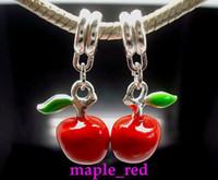 Atacado 40pcs / lot belo esmalte Red Apple Dangle Big Hole DIY encantos caber Colar Europeia Bracelet