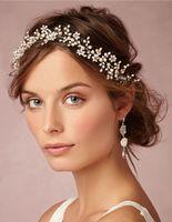 Старинные свадебные повязки аксессуары для волос с жемчугом стразы женщины украшения для волос свадебные диадемы свадебные повязки #HP105