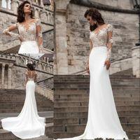 Illusion Bodic Mermaid Wedding Dress Long Sleeve Lace Appliq...