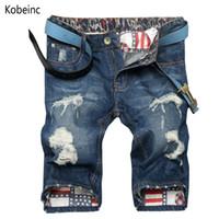 Wholesale-Fashion Bettler Plus Größe Loch Shorts Casual 28 ~ 38 Herren Shorts Summer Scratch Herren Denim Shorts Nostalgie Classic