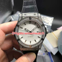 Diamonds silver case watch automatic men size 42mm black lea...