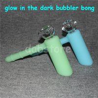 Lueur dans l'obscurité silicone barboteurs à marteau percolateur de silicone barboteur pipes à fumer pipe à tabac bongs pomme de douche percolateurs à matrice de percussion DHL