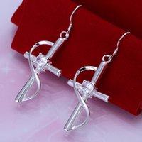 Weißer Edelstein 925er Silber Danles Kronleuchter Ohrring Einlagerter Stein Kreuz Sterling Silber Platte Ohrringe GSSE194