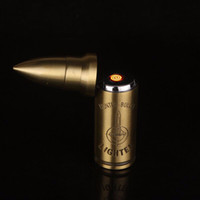 2016 vendita calda promozionale accendino ricaricabile ambientale antivento cacciatore proiettile usb accendino garanzia di qualità più leggero