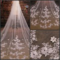 2021 all'ingrosso stili da sposa stili tulle veli da sposa in pizzo ribaltato lungo accessori perline