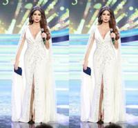 Nancy Ajram White Split Abendkleider mit tiefem V-Ausschnitt Perlen Chiffon bodenlangen 2020 arabischen Stil Promi Abendkleider