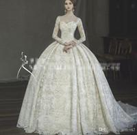 Abiti da sposa Casa Reale maniche lunghe Vintage Wedding abiti di alta qualità abito da sposa Grande Sfera abito avorio scollatura a V Vestido De Novia