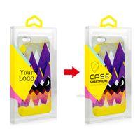 Vente en gros bricolage personnalisé LOGO Transparent PVC Emballage Boîte de suspension colorée pour étui de téléphone portable avec plateau interne