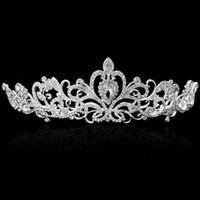 Bling Silber Kristalle Hochzeit Tiaras Perlen Brautkronen Diamant Schmuck Strass Stirnband Günstige Haarschmuck Pageant Tiara