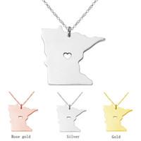 Wyprzedaż Minnesota State Wisiorek Naszyjnik Spersonalizowany Mapa Urok Stan Wisiorek Heart Cut Out Custom Jewelry Collar