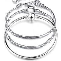 Sıcak satış 925 Ayar Gümüş AŞK 3mm Yılan Zincirler 17-21 CM Bilezik Bileklik Fit Avrupa Boncuk Charm Moda DIY Takı Aksesuarları
