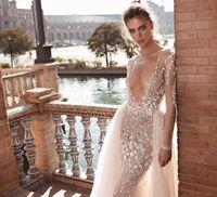 Robes de mariée Berta Dentelle 3D-Floral Appliques Sheers Manches longues Robes de mariée Sexy Coffre à la poitrine exposée Robe de mariée A-Line avec de la dave