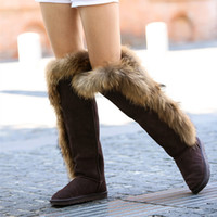 women fashion high quality real fox fur boots leather snow b...