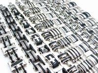gros lots 10 pièces mélanger dix styles différents hommes 's de qualité en acier inoxydable bracelets de marque tout nouveau
