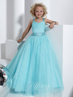 Sweet Baby Blue Tulle cinghie Perline Sash Flower Girl Dresses Pageant Girl Dress Princess Holiday Skirt Custom Size 2-14 H906009
