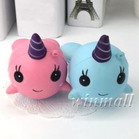 10cm Squishy Narwhal Uni Whale Squishy Slow Lising Squeeze Toy Phone Correas Charm