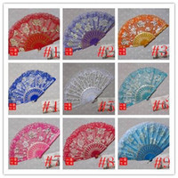 Rose marco de plástico de seda de encaje ventilador de la mano del arte chino Dance Fan plegable 15 colores 100pcs / lot