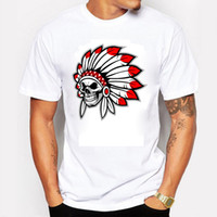 I più nuovi uomini Fashion American Indian Skull Design T-shirt Tops stampati personalizzati manica corta estate Tees