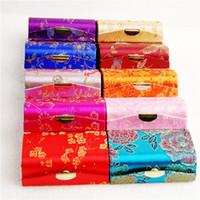휴대용 소형 여행 보석 보관 케이스 미러 귀걸이 반지 선물 상자 중국어 실크 꽃 립스틱 튜브는 포장 상자 비우기 브로케이드