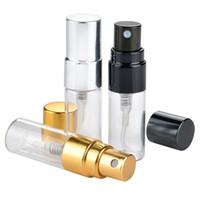 3ML السفر إعادة الملء زجاجة عطر الزجاج مع بخاخ الأشعة فوق البنفسجية مضخة التجميل بخاخ رذاذ الفضة الذهب الأسود كاب