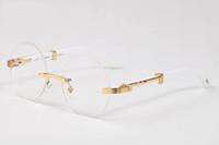 cuerno de búfalo populares gafas de sol deportivas de madera de la moda nueva moda de los hombres de la mujer retro marco completo lentes transparentes sin montura gafas de sol redondas