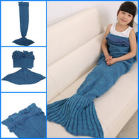 Fils tricoté Mermaid Tail Blanket Handmade Crochet fil Blanket souple Accueil Canapé Sac de couchage adulte Sleeping Throw Wrap