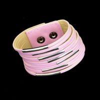 Vintage Geniş Katmanlı Deri Bilezik Çok Katmanlı Wrap Düğmesi Toka Charm Hakiki Deri Örgülü Halat Bileklik Erkekler Kadınlar Için Takı