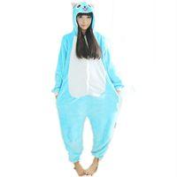 Флис аниме Фея хвост Счастливый кот Onesie дети мультфильм партии косплей костюм Женщины пижамы взрослый синий Счастливый кот Onesies комбинезон с капюшоном