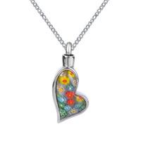 Lily Cremation Jewelry Flores coloridas Irregular Heart Urn Necklace Memorial Ash Keepsake Colgante con bolsa de regalo Embudo y cadena