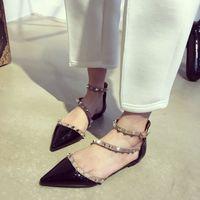 Fashionville * B106 40/41/42 cinturino in vera pelle a punta sandali piatti da donna scarpe moda designer rosso nudo beige nero bianco