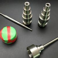 Juego de herramientas de bong de vidrio 10 mm 14mm 18 mm Ajustable Domiess Fumar GR2 Titanio Nail Cap Cap Dabber Slicone Jar DAB Contenedor para tuberías de agua