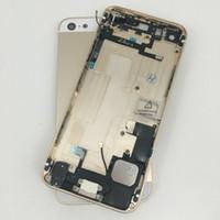 Altın Komple Tam Meclisi Konut Metal Arka Orta Çerçeve Arka Pil Kılıfı Değiştirme iPhone 5 5g
