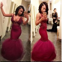 2017 Sexy Black Girls Lace Mermaid Prom Dress Borgogna Applique Nuovi Abiti Da Sera Lunghi Abiti Del Partito Abiti Da Festa Custom Made