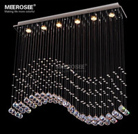 Modern Rectangle Crystal Chandelier Lustre Light Fixture Cry...