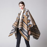 Fashion Thicken Scarves Cashmere Feel Striped Poncho Pashmin...