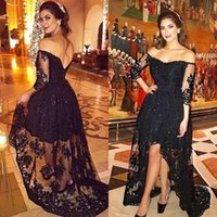 Sexy high low lace black prom dresses 3 4 long sleeves zippe...