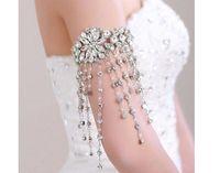 Luxuriöse Tassel Strass Kristall Braut-Armband-Armbänder Arm Armband Armband Hochzeit Schmuck-Party-Zubehör für Mädchen