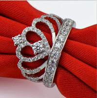 925 Sterling Silver Diamond Princess Crown Ring Kvinnlig Koreansk Lyxbröllop eller Förlovnings Ring Trendsetter Hem Utgåva Treasure