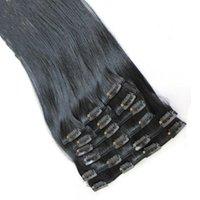 """Gretremy 20"""" 24"""" grampo na / em extensões do cabelo da Malásia brasileira peruana indiano Remy Cabelo Humano 10pcs Hetero Weave / set 120g / set Color # 1"""
