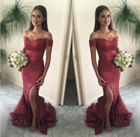 La migliore vendita Borgogna Paillettes Mermaid Shining Paillettes Off-Shoulder Piano Lunghezza Lungo Elegante Da Sera Prom Dress Gowns Exquisite Chic