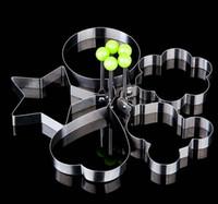 Edelstahl-Blumen-Stern-Herz-Kreis-förmige Spiegelei Gerät Ringe Kreis Omelette Pfannkuchen Thick-Zuckerfertigkeit-Kuchen-Form-Küche-Werkzeug-Geschenk