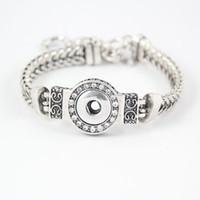 DIY Noosa Pedaços de cristal pulseiras de prata banhado intercambiáveis 12 milímetros botões de pressão de aço inoxidável Jóias Moda feminina Bracelet snap