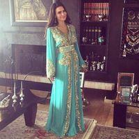 2018 Hunter Chiffon Dubai Abendkleider Eine Linie Lange Ärmel Gold Pailletten und Perlen V-ausschnitt Prom Kleid Kaftans Party Kleider