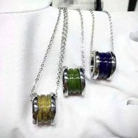 Fashion Blue Green Brown Titanium Steel Whorl Pendants Neckl...