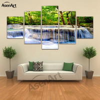 5 Panel Wall Pictures Waterfall Painting for Living Room Nat...