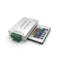 Edison2011 LED Controlador De Alumínio RGB 24keys 12A 12-24 V IR ou RF para 5050 3528 Controlador RGB Frete Grátis