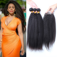 Grade 9A Malaysian Kinky Straight Hair Bundles With Closure ...