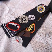 أزياء طباعة صغيرة مستطيل وشاح عقال العلامة التجارية الأوشحة الحريرية أنثى يمكن للحقائب