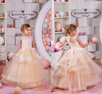 New Lovely Lace Flower Girls Dresses 2016 Princess Ball Gown...
