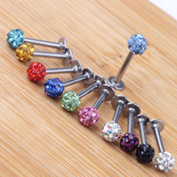 Jóia do corpo Tragus Brinco 20 pçs / lote Mix 10 Cores 6-12mm Bola Shamballa CZ Gem Disco 3.5mm Piercing Lábio Piercing Lab ...